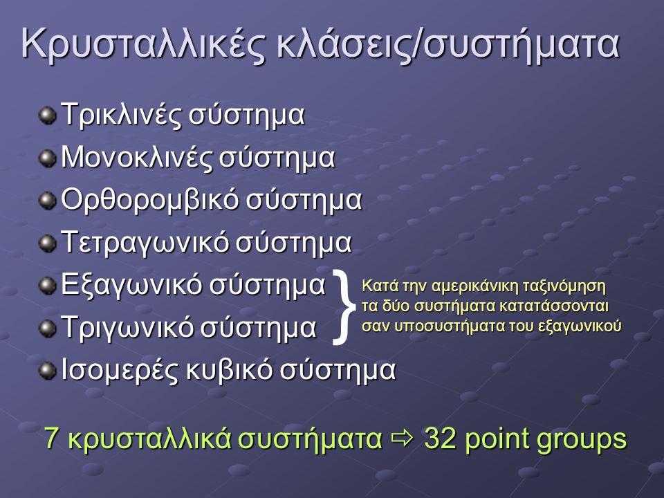 Κρυσταλλικές κλάσεις/συστήματα Τρικλινές σύστημα Μονοκλινές σύστημα Ορθορομβικό σύστημα Τετραγωνικό σύστημα Εξαγωνικό σύστημα Τριγωνικό σύστημα Ισομερές κυβικό σύστημα } Κατά την αμερικάνικη ταξινόμηση τα δύο συστήματα κατατάσσονται σαν υποσυστήματα του εξαγωνικού 7 κρυσταλλικά συστήματα  32 point groups