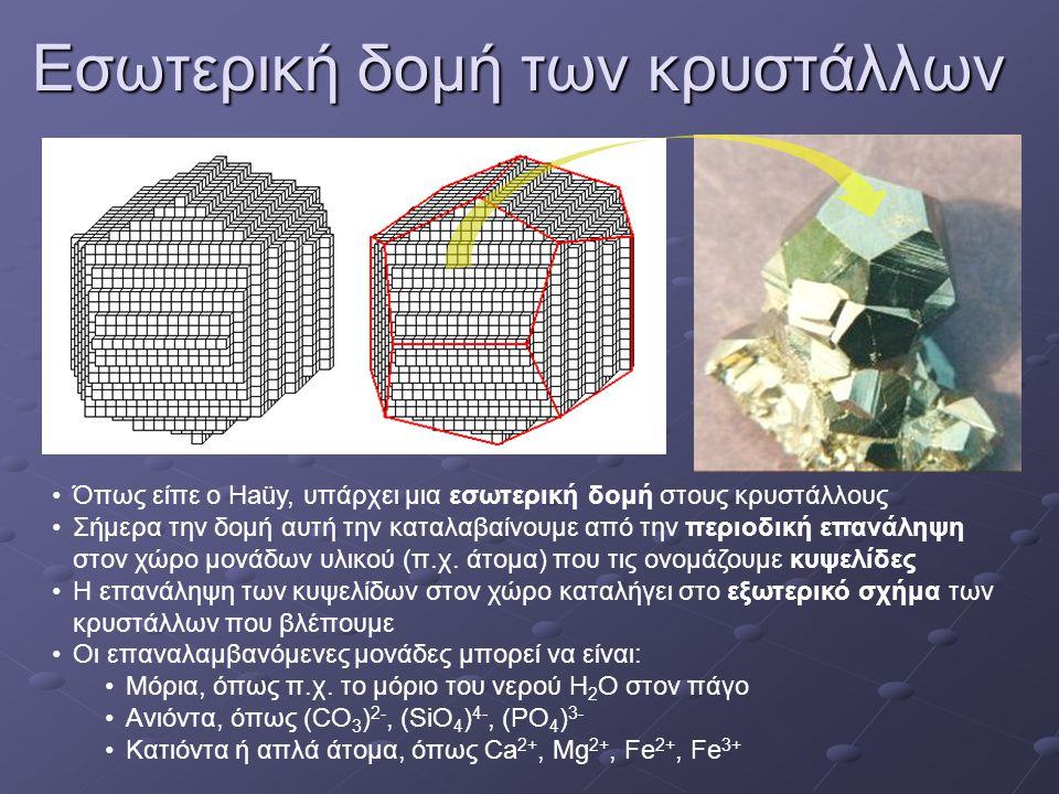 Εσωτερική δομή των κρυστάλλων •Όπως είπε ο Haüy, υπάρχει μια εσωτερική δομή στους κρυστάλλους •Σήμερα την δομή αυτή την καταλαβαίνουμε από την περιοδική επανάληψη στον χώρο μονάδων υλικού (π.χ.