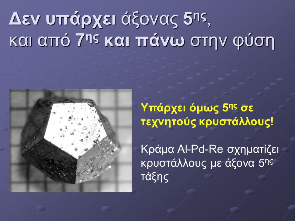 Δεν υπάρχει άξονας 5 ης, και από 7 ης και πάνω στην φύση Υπάρχει όμως 5 ης σε τεχνητούς κρυστάλλους.
