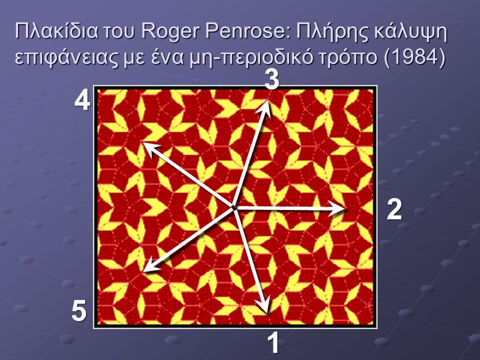 Πλακίδια του Roger Penrose: Πλήρης κάλυψη επιφάνειας με ένα μη-περιοδικό τρόπο (1984) 1 2 3 4 5