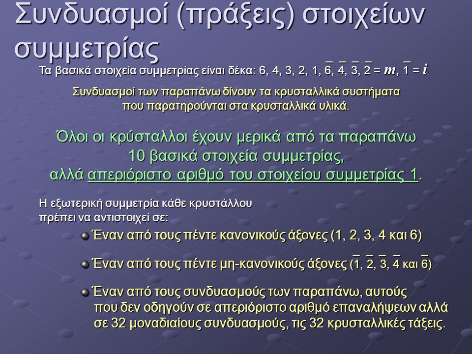 Συνδυασμοί (πράξεις) στοιχείων συμμετρίας Τα βασικά στοιχεία συμμετρίας είναι δέκα: 6, 4, 3, 2, 1, 6, 4, 3, 2 = m, 1 = i _ _ _ _ _ Συνδυασμοί των παραπάνω δίνουν τα κρυσταλλικά συστήματα που παρατηρούνται στα κρυσταλλικά υλικά.