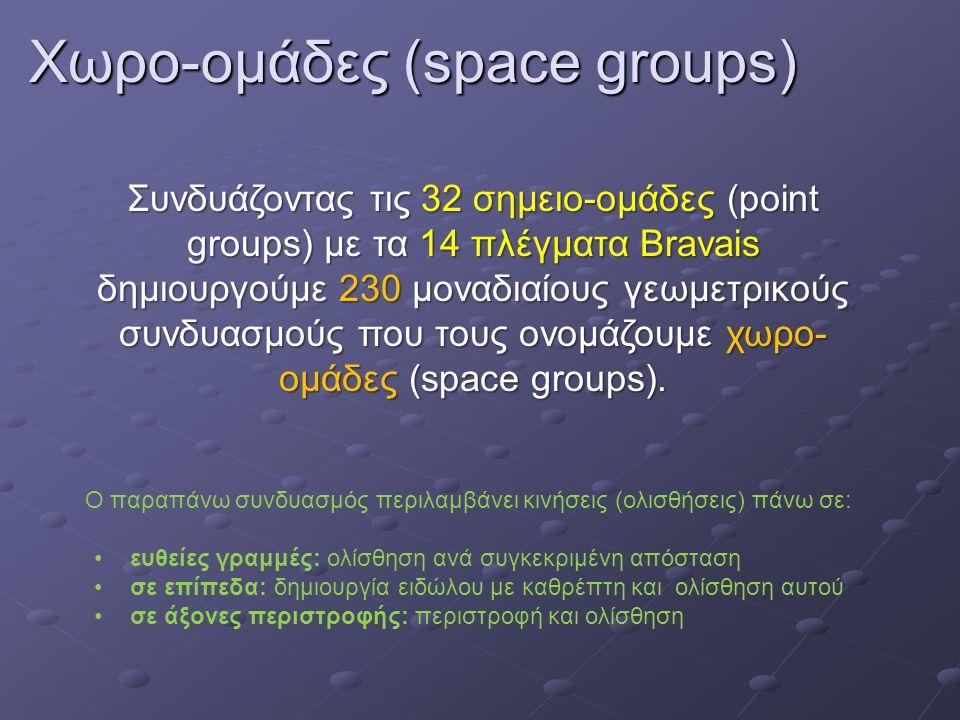 Χωρο-ομάδες (space groups) Συνδυάζοντας τις 32 σημειο-ομάδες (point groups) με τα 14 πλέγματα Bravais δημιουργούμε 230 μοναδιαίους γεωμετρικούς συνδυασμούς που τους ονομάζουμε χωρο- ομάδες (space groups).