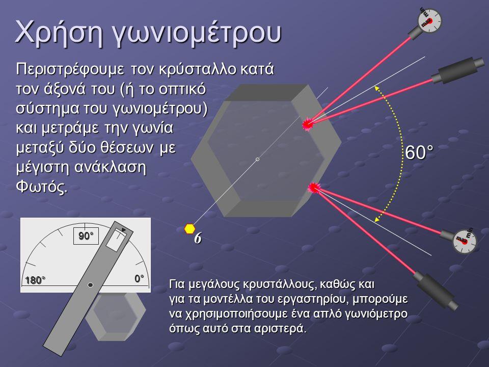 Χρήση γωνιομέτρου 6 min max min max 60° Περιστρέφουμε τον κρύσταλλο κατά τον άξονά του (ή το οπτικό σύστημα του γωνιομέτρου) και μετράμε την γωνία μεταξύ δύο θέσεων με μέγιστη ανάκλαση Φωτός.