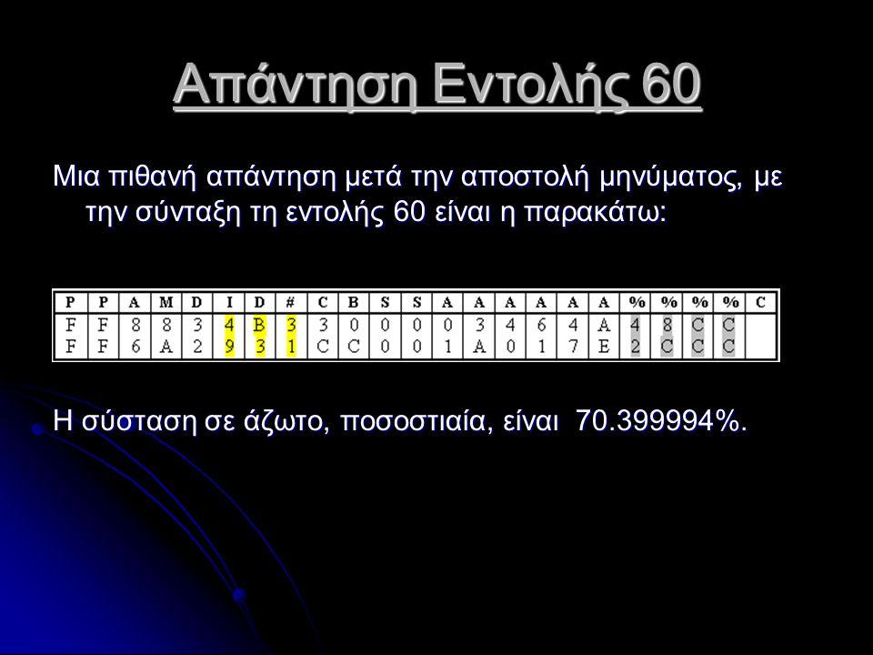 Απάντηση Εντολής 60 Μια πιθανή απάντηση μετά την αποστολή μηνύματος, με την σύνταξη τη εντολής 60 είναι η παρακάτω: Η σύσταση σε άζωτο, ποσοστιαία, είναι 70.399994%.