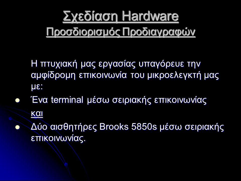 Σχεδίαση Hardware Προσδιορισμός Προδιαγραφών Η πτυχιακή μας εργασίας υπαγόρευε την αμφίδρομη επικοινωνία του μικροελεγκτή μας με:  Ένα terminal μέσω σειριακής επικοινωνίας και  Δύο αισθητήρες Brooks 5850s μέσω σειριακής επικοινωνίας.