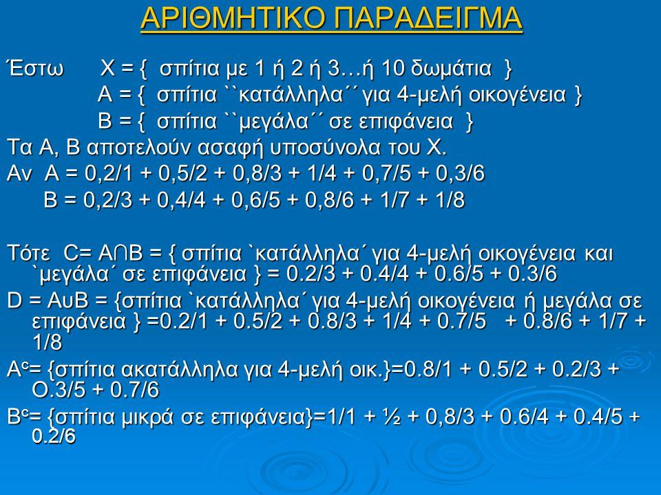 ΑΡΙΘΜΗΤΙΚΟ ΠΑΡΑΔΕΙΓΜΑ Έστω Χ = { σπίτια με 1 ή 2 ή 3…ή 10 δωμάτια } Α = { σπίτια ``κατάλληλα΄΄ για 4-μελή οικογένεια } Α = { σπίτια ``κατάλληλα΄΄ για