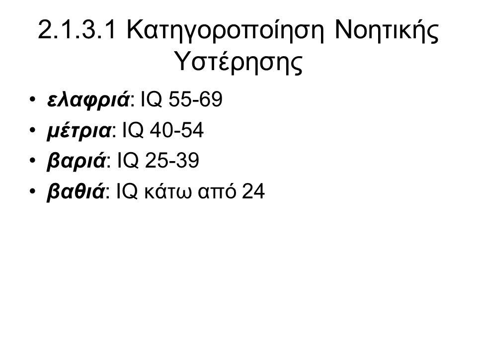 2.1.3.1 Κατηγοροποίηση Νοητικής Υστέρησης •ελαφριά: IQ 55-69 •μέτρια: IQ 40-54 •βαριά: IQ 25-39 •βαθιά: IQ κάτω από 24