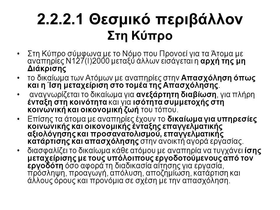 2.2.2.1 Θεσμικό περιβάλλον Στη Κύπρο •Στη Κύπρο σύμφωνα με το Νόμο που Προνοεί για τα Άτομα με αναπηρίες Ν127(I)2000 μεταξύ άλλων εισάγεται η αρχή της μη Διάκρισης •το δικαίωμα των Ατόμων με αναπηρίες στην Απασχόληση όπως και η Ίση μεταχείριση στο τομέα της Απασχόλησης.
