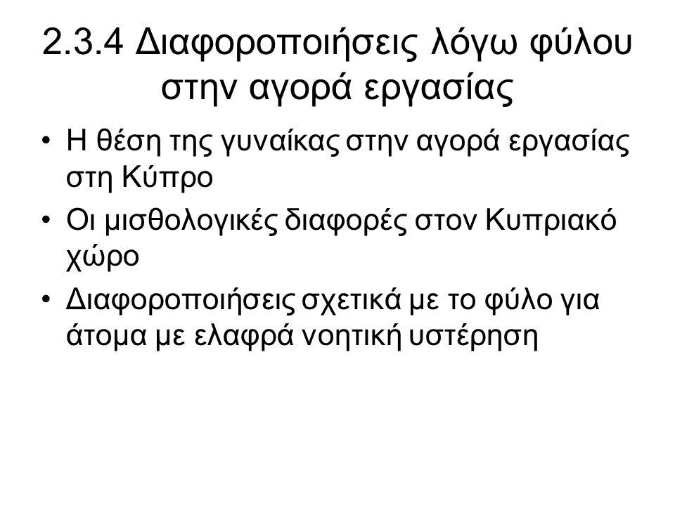 2.3.4 Διαφοροποιήσεις λόγω φύλου στην αγορά εργασίας •Η θέση της γυναίκας στην αγορά εργασίας στη Κύπρο •Οι μισθολογικές διαφορές στον Κυπριακό χώρο •