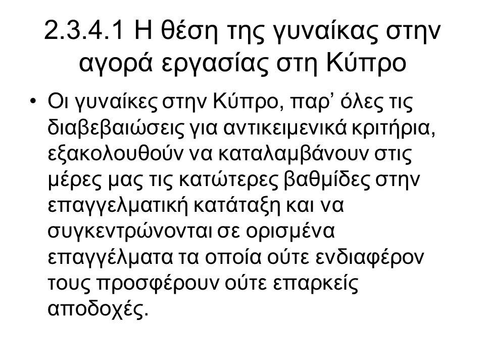 2.3.4.1 Η θέση της γυναίκας στην αγορά εργασίας στη Κύπρο •Οι γυναίκες στην Κύπρο, παρ' όλες τις διαβεβαιώσεις για αντικειμενικά κριτήρια, εξακολουθούν να καταλαμβάνουν στις μέρες μας τις κατώτερες βαθμίδες στην επαγγελματική κατάταξη και να συγκεντρώνονται σε ορισμένα επαγγέλματα τα οποία ούτε ενδιαφέρον τους προσφέρουν ούτε επαρκείς αποδοχές.