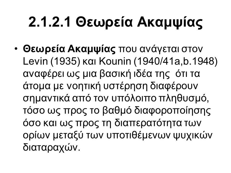 2.1.2.1 Θεωρεία Ακαμψίας •Θεωρεία Ακαμψίας που ανάγεται στον Levin (1935) και Kounin (1940/41a,b.1948) αναφέρει ως μια βασική ιδέα της ότι τα άτομα με