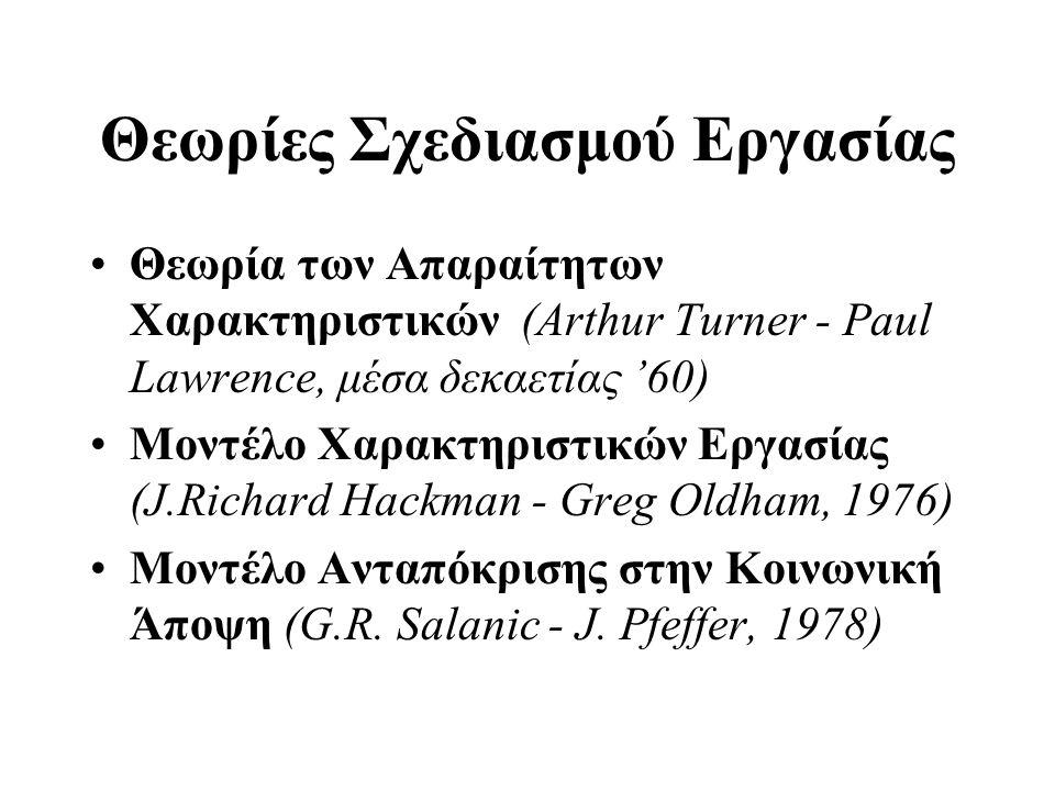 Θεωρίες Σχεδιασμού Εργασίας •Θεωρία των Απαραίτητων Χαρακτηριστικών (Arthur Turner - Paul Lawrence, μέσα δεκαετίας '60) •Μοντέλο Χαρακτηριστικών Εργασίας (J.Richard Hackman - Greg Oldham, 1976) •Μοντέλο Ανταπόκρισης στην Κοινωνική Άποψη (G.R.