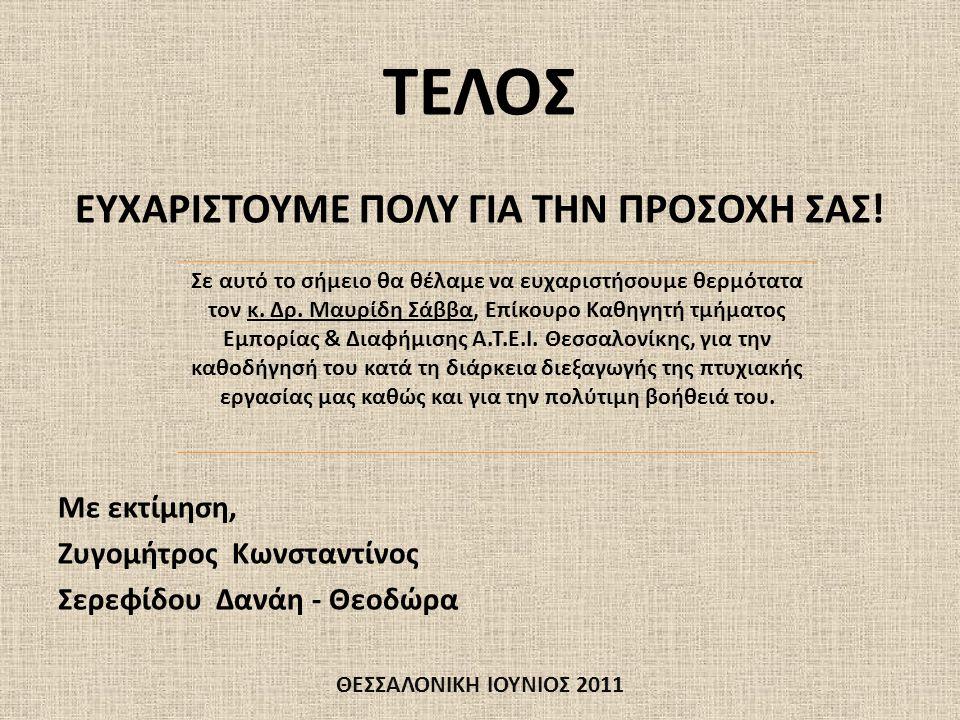 ΤΕΛΟΣ ΕΥΧΑΡΙΣΤΟΥΜΕ ΠΟΛΥ ΓΙΑ ΤΗΝ ΠΡΟΣΟΧΗ ΣΑΣ! Με εκτίμηση, Ζυγομήτρος Κωνσταντίνος Σερεφίδου Δανάη - Θεοδώρα ΘΕΣΣΑΛΟΝΙΚΗ ΙΟΥΝΙΟΣ 2011 Σε αυτό το σήμειο