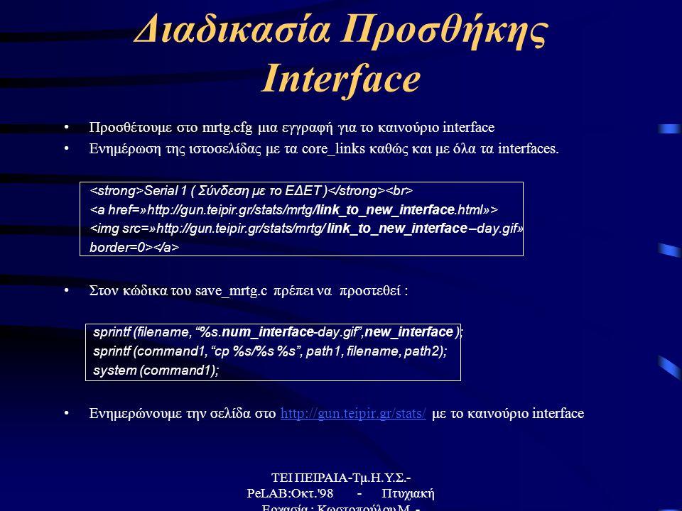 Διαδικασία Προσθήκης Interface •Προσθέτουμε στο mrtg.cfg μια εγγραφή για το καινούριο interface •Ενημέρωση της ιστοσελίδας με τα core_links καθώς και με όλα τα interfaces.