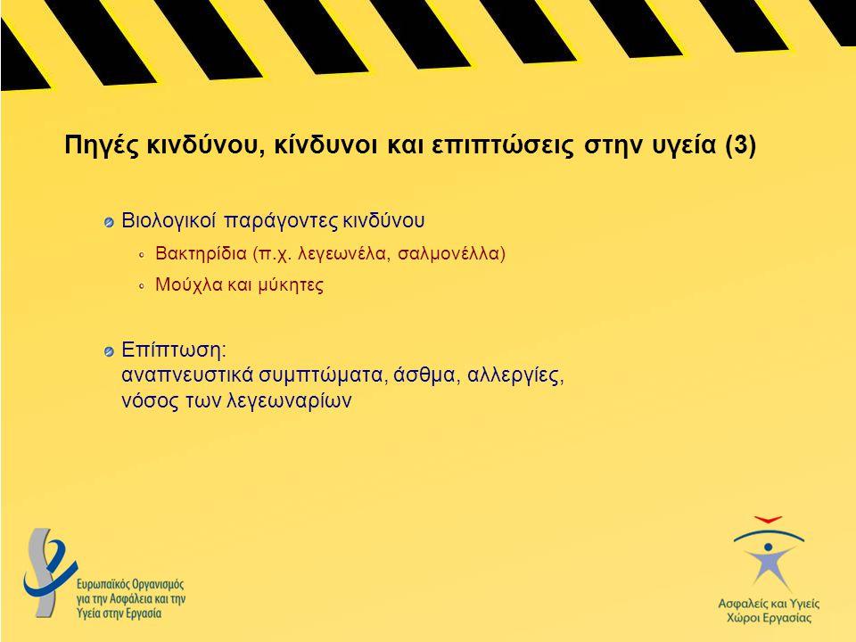 Οδηγία 89/391 του Συμβουλίου – «Οδηγία-Πλαίσιο» Ορίζει τις βασικές αρχές σχετικά με την πρόληψη και την προστασία των εργαζομένων από εργατικά ατυχήματα και επαγγελματικές ασθένειες Ορίζει τις υποχρεώσεις των εργοδοτών σχετικά με την εκτίμηση των κινδύνων και την εξάλειψη των κινδύνων και των παραγόντων που προκαλούν ατυχήματα στην εργασία Περιέχει διατάξεις σχετικά με την ενημέρωση, τη διαβούλευση και την ισόρροπη συμμετοχή και επιμόρφωση των εργαζομένων και των εκπροσώπων τους.