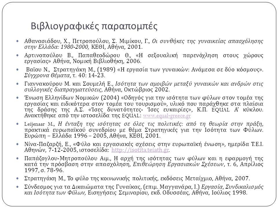 Βιβλιογραφικές παραπομπές  Αθανασιάδου, Χ., Πετροπούλου, Σ. Μιμίκου, Γ., Οι συνθήκες της γυναικείας απασχόλησης στην Ελλάδα : 1980-2000, ΚΕΘΙ, Αθήνα,