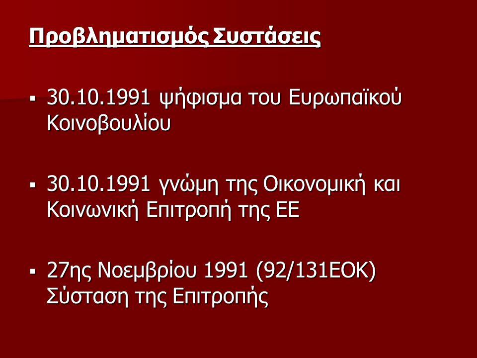 Προβληματισμός Συστάσεις  30.10.1991 ψήφισμα του Ευρωπαϊκού Κοινοβουλίου  30.10.1991 γνώμη της Οικονομική και Κοινωνική Επιτροπή της ΕΕ  27ης Νοεμβ