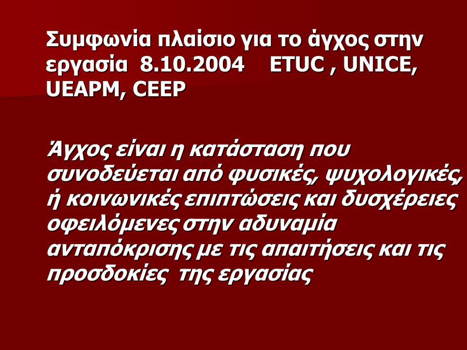 Συμφωνία πλαίσιο για το άγχος στην εργασία 8.10.2004 ETUC, UNICE, UEAPM, CEEP Συμφωνία πλαίσιο για το άγχος στην εργασία 8.10.2004 ETUC, UNICE, UEAPM,