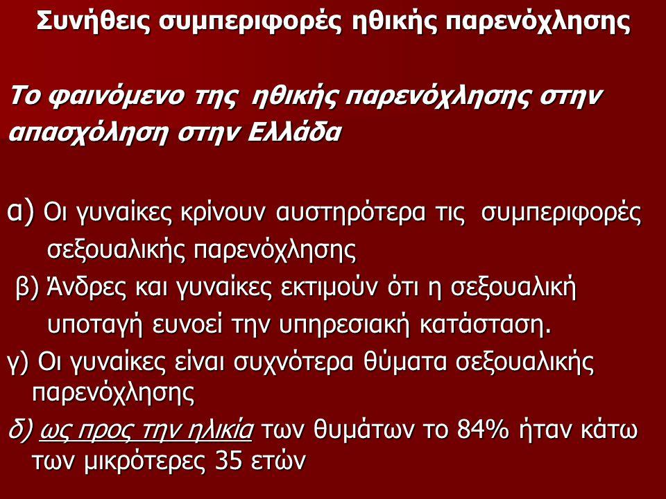 Συνήθεις συμπεριφορές ηθικής παρενόχλησης Το φαινόμενο της ηθικής παρενόχλησης στην απασχόληση στην Ελλάδα α) Οι γυναίκες κρίνουν αυστηρότερα τις συμπ