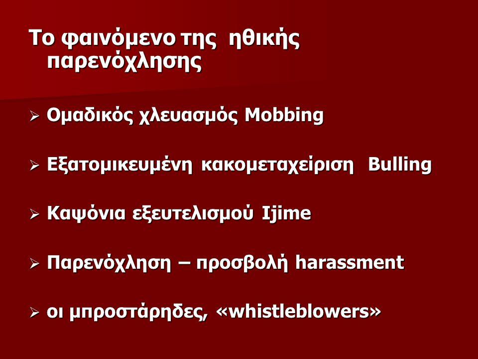 Το φαινόμενο της ηθικής παρενόχλησης  Ομαδικός χλευασμός Mobbing  Εξατομικευμένη κακομεταχείριση Bulling  Καψόνια εξευτελισμού Ijime  Παρενόχληση