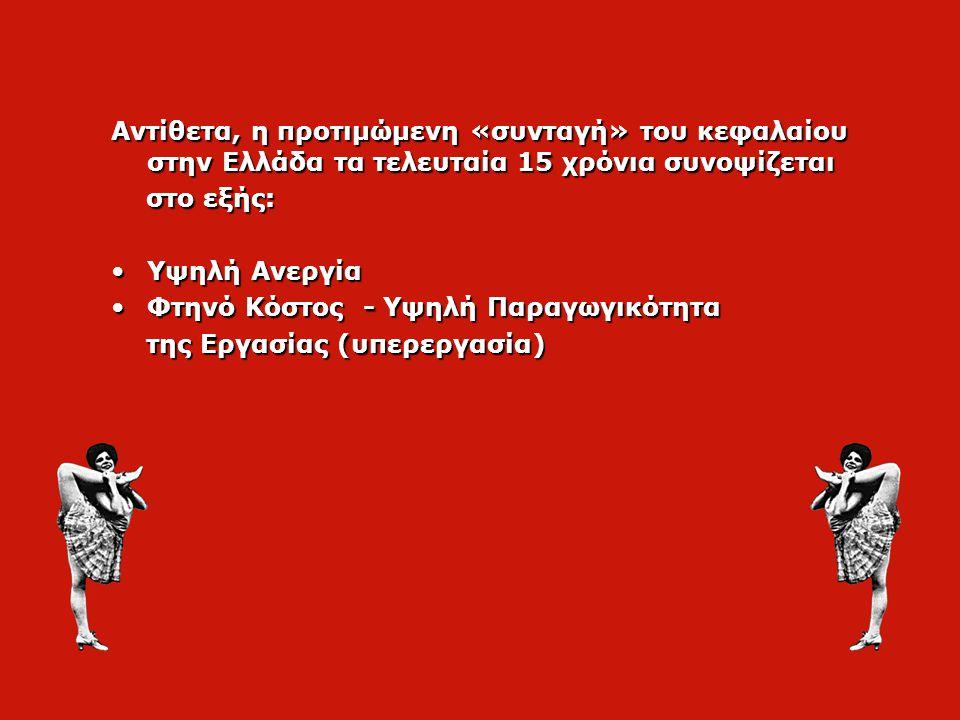 Αντίθετα, η προτιμώμενη «συνταγή» του κεφαλαίου στην Ελλάδα τα τελευταία 15 χρόνια συνοψίζεται στο εξής: στο εξής: •Υψηλή Ανεργία •Φτηνό Κόστος - Υψηλή Παραγωγικότητα της Εργασίας (υπερεργασία) της Εργασίας (υπερεργασία)