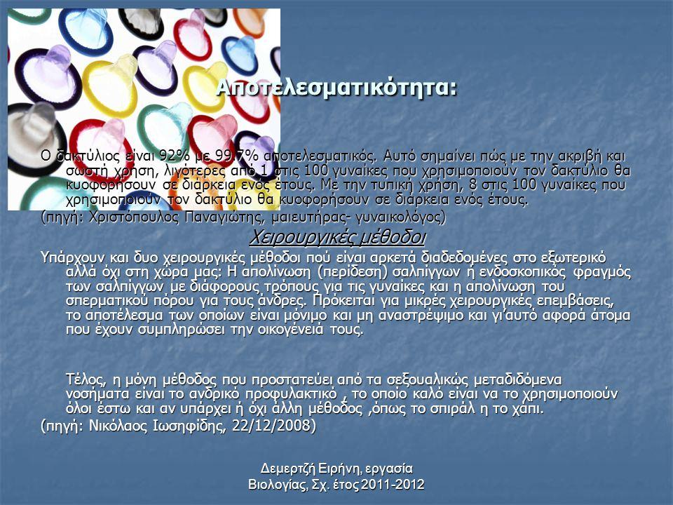 Δεμερτζή Ειρήνη, εργασία Βιολογίας, Σχ. έτος 2011-2012 4. Κολπικός Δακτύλιος Ο Κολπικός Δακτύλιος είναι μία αναστρέψιμη συνταγογραφούμενη αντισυλληπτι