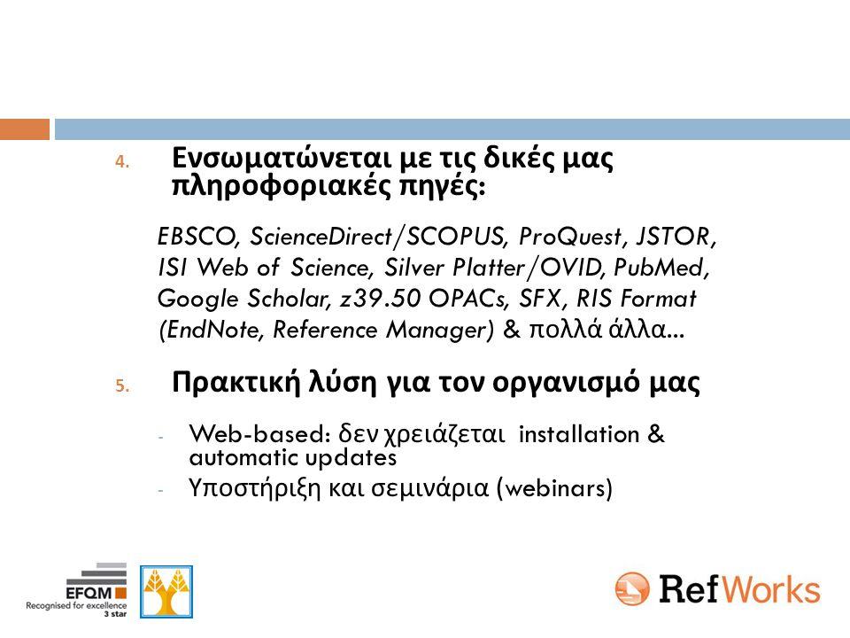 4. Ενσωματώνεται με τις δικές μας πληροφοριακές πηγές : EBSCO, ScienceDirect/SCOPUS, ProQuest, JSTOR, ISI Web of Science, Silver Platter/OVID, PubMed,