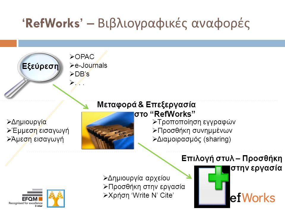 Εργαλεία Οργάνωσης και Διαχείρισης Βιβλιογραφικών Αναφορών  Τα εργαλεία διαχείρισης βιβλιογραφικών αναφορών σας παρέχουν τη δυνατότητα  να δημιουργήσετε ή να εισαγάγετε βιβλιογραφικές αναφορές απευθείας από δικτυακές βάσεις δεδομένων και ιστοχώρους σε προσωπική βάση δεδομένων  να οργανώσετε και διαχειριστείτε τις βιβλιογραφίες  να μορφοποιήσετε τις βιβλιογραφικές αναφορές σε διάφορες μορφές όπως MLA, APA, Chicago Manual of Style, Turabian, κ.