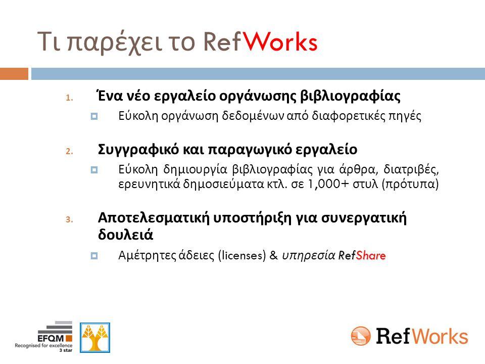 Τι παρέχει το RefWorks 1. Ένα νέο εργαλείο οργάνωσης βιβλιογραφίας  Εύκολη οργάνωση δεδομένων από διαφορετικές πηγές 2. Συγγραφικό και παραγωγικό εργ