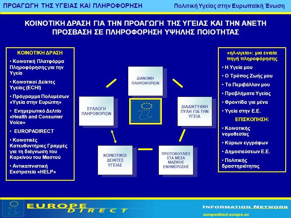 europedirect.europa.eu ΠΡΟΑΓΩΓΗ ΤΗΣ ΥΓΕΙΑΣ ΚΑΙ ΠΛΗΡΟΦΟΡΗΣΗ Πολιτική Υγείας στην Ευρωπαϊκή Ένωση «ηλ-υγεία»: μια ενιαία πηγή πληροφόρησης • Η Υγεία μου