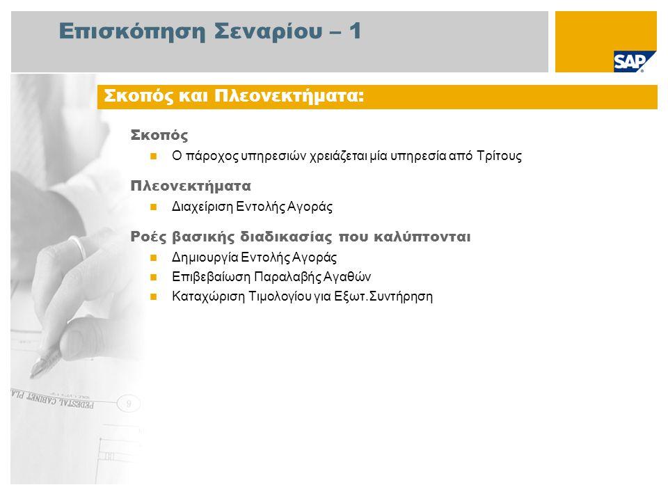 Επισκόπηση Σεναρίου – 2 Απαιτείται  Το πακέτο βελτίωσης 4 του SAP για SAP ERP 6.0 Ρόλοι εταιρίας στις ροές διαδικασίας  Αγοραστής  Υπάλληλος Αποθήκης  Λογιστής 1 Πληρωτέων Λογ/σμών Εφαρμογές SAP που Απαιτούνται: