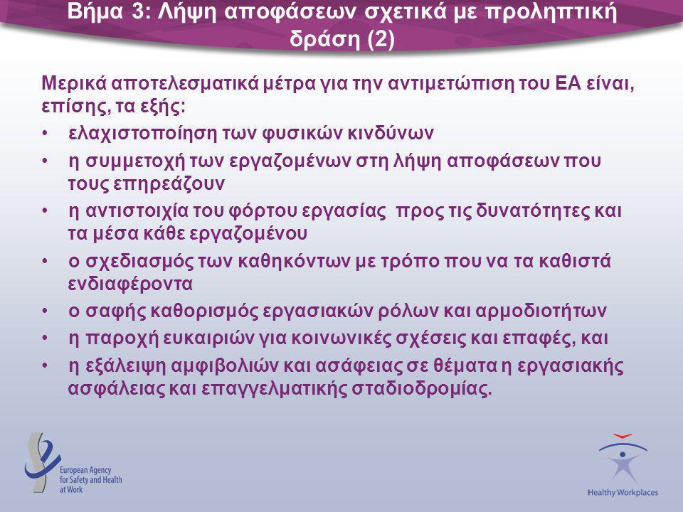 Βήμα 3: Λήψη αποφάσεων σχετικά με προληπτική δράση (2) Μερικά αποτελεσματικά μέτρα για την αντιμετώπιση του ΕΑ είναι, επίσης, τα εξής: •ελαχιστοποίηση
