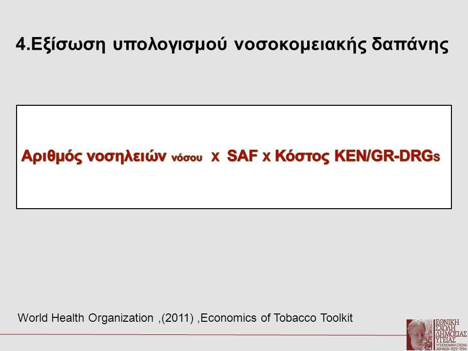 4.Εξίσωση υπολογισμού νοσοκομειακής δαπάνης World Health Organization,(2011),Economics of Tobacco Toolkit