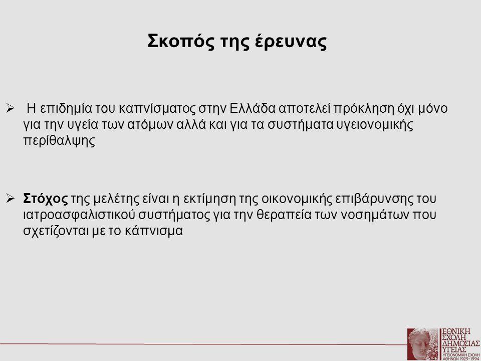 Σκοπός της έρευνας  Η επιδημία του καπνίσματος στην Ελλάδα αποτελεί πρόκληση όχι μόνο για την υγεία των ατόμων αλλά και για τα συστήματα υγειονομικής