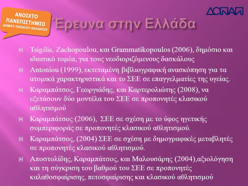  Tsigilis, Zachopoulou, και Grammatikopoulos (2006), δημόσιο και ιδιωτικό τομέα, για τους νεοδιοριζόμενους δασκάλους  Antoniou (1999), εκτεταμένη βιβλιογραφική ανασκόπηση για τα ατομικά χαρακτηριστικά και το ΣΕΕ σε επαγγελματίες της υγείας.