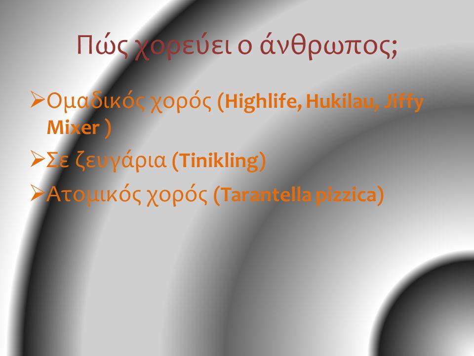 Χορός και κοινωνία • φύλο ( αντρικός χορός, γυναικείος χορός - Highlife, Hukilau ) • έθνος φυλή ( Jiffy mixer – jazz ) • απόδειξη κοινωνικής και οικονομικής καταξίωσης ( πχ Αναγέννηση λαϊκοί και παραδοσιακοί χοροί για τα λαϊκά στρώματα και οι αριστοκρατικοί και εκλεπτυσμένοι χοροί για την ανώτερη τάξη.) • Τοπικός ( Πυργούσικος ) ή εθνικός ( Καλαματιανός )ή διεθνής χορός ( Latin, Tango ) • Θρησκεία ( περιορισμός ως και απαγόρευση χορών - Βυζαντινοί χρόνοι, Μεσαίωνας)