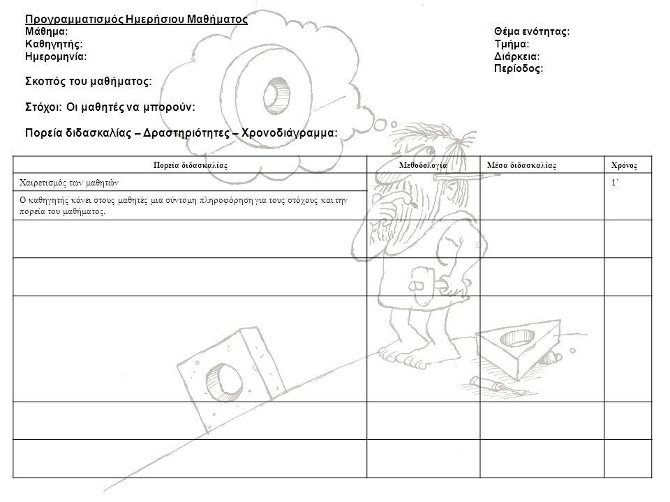 Προγραμματισμός Ημερήσιου Μαθήματος Μάθημα:Θέμα ενότητας: Καθηγητής: Τμήμα: Ημερομηνία:Διάρκεια: Περίοδος: Σκοπός του μαθήματος: Στόχοι: Οι μαθητές να μπορούν: Πορεία διδασκαλίας – Δραστηριότητες – Χρονοδιάγραμμα: Πορεία διδασκαλίαςΜεθοδολογίαΜέσα διδασκαλίαςΧρόνος Χαιρετισμός των μαθητών1' Ο καθηγητής κάνει στους μαθητές μια σύντομη πληροφόρηση για τους στόχους και την πορεία του μαθήματος.