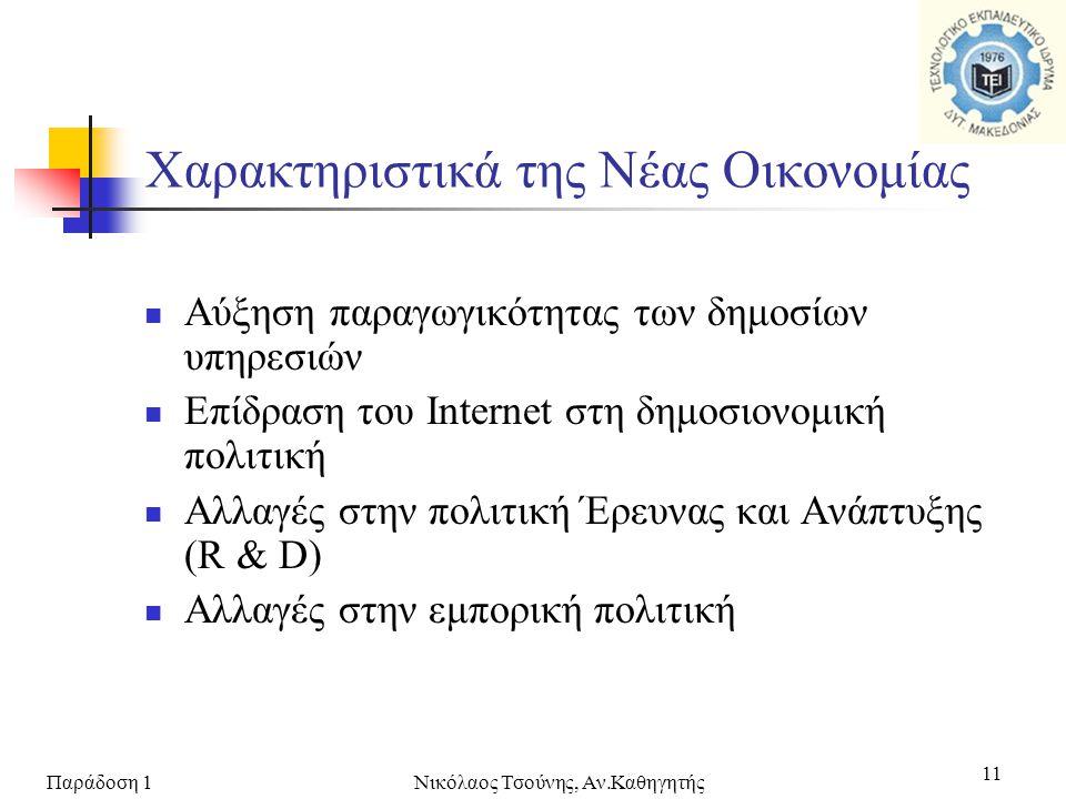 Παράδοση 1Νικόλαος Τσούνης, Αν.Καθηγητής 11  Αύξηση παραγωγικότητας των δημοσίων υπηρεσιών  Επίδραση του Internet στη δημοσιονομική πολιτική  Αλλαγ
