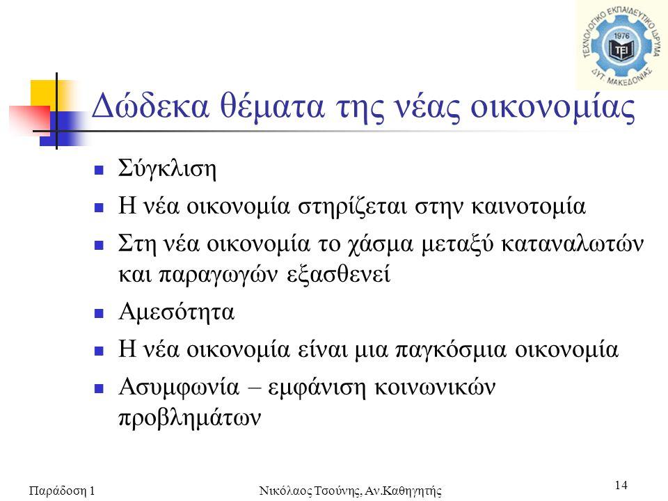 Παράδοση 1Νικόλαος Τσούνης, Αν.Καθηγητής 14 Δώδεκα θέματα της νέας οικονομίας  Σύγκλιση  Η νέα οικονομία στηρίζεται στην καινοτομία  Στη νέα οικονο