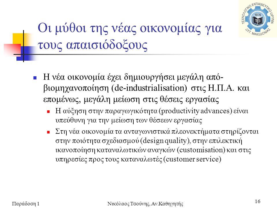 Παράδοση 1Νικόλαος Τσούνης, Αν.Καθηγητής 16  Η νέα οικονομία έχει δημιουργήσει μεγάλη από- βιομηχανοποίηση (de-industrialisation) στις Η.Π.Α. και επο