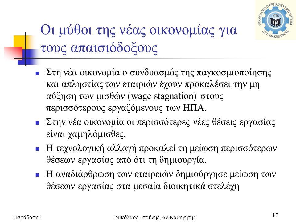 Παράδοση 1Νικόλαος Τσούνης, Αν.Καθηγητής 17 Οι μύθοι της νέας οικονομίας για τους απαισιόδοξους  Στη νέα οικονομία ο συνδυασμός της παγκοσμιοποίησης