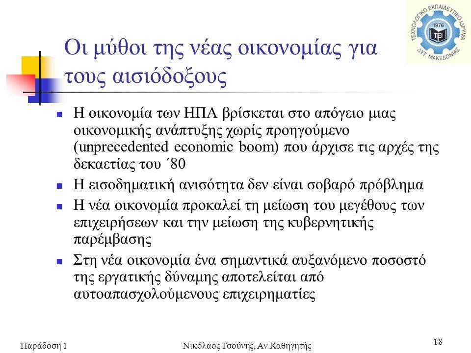 Παράδοση 1Νικόλαος Τσούνης, Αν.Καθηγητής 18 Οι μύθοι της νέας οικονομίας για τους αισιόδοξους  Η οικονομία των ΗΠΑ βρίσκεται στο απόγειο μιας οικονομ