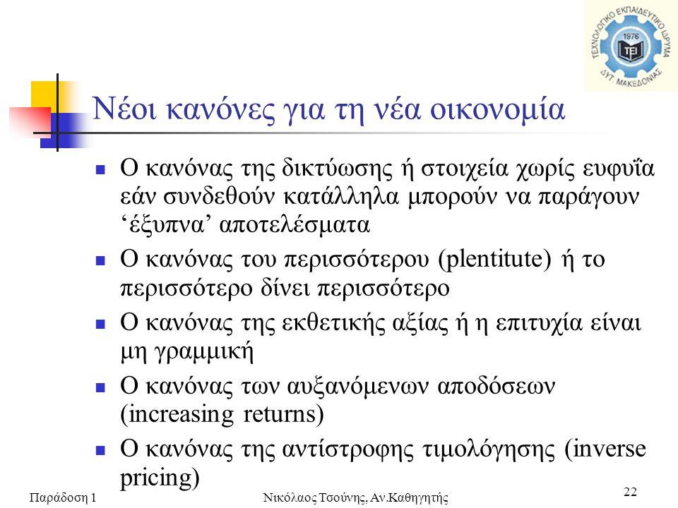Παράδοση 1Νικόλαος Τσούνης, Αν.Καθηγητής 22  Ο κανόνας της δικτύωσης ή στοιχεία χωρίς ευφυΐα εάν συνδεθούν κατάλληλα μπορούν να παράγουν 'έξυπνα' απο