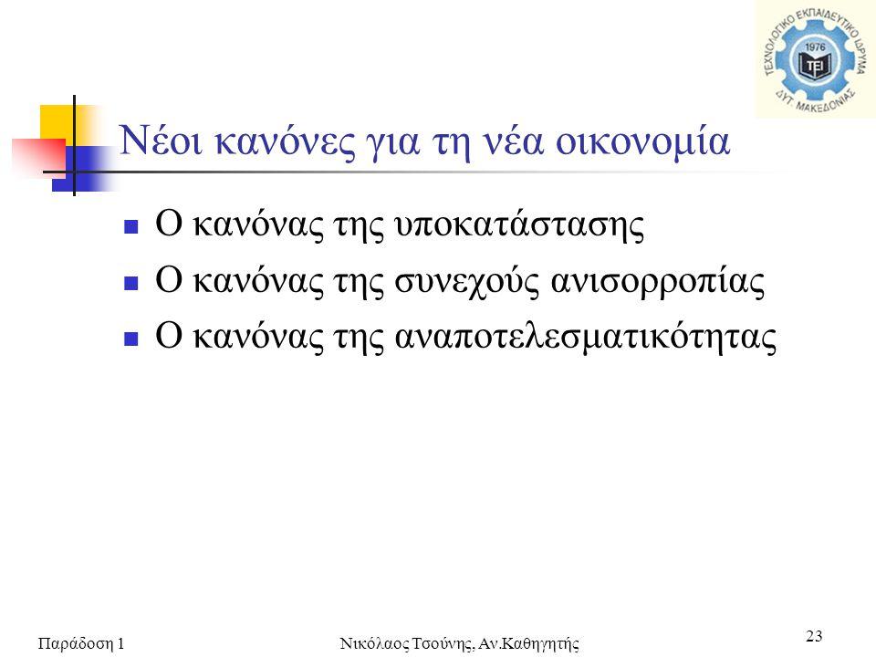 Παράδοση 1Νικόλαος Τσούνης, Αν.Καθηγητής 23  Ο κανόνας της υποκατάστασης  Ο κανόνας της συνεχούς ανισορροπίας  Ο κανόνας της αναποτελεσματικότητας