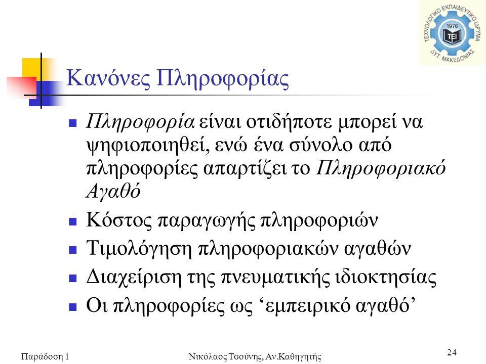 Παράδοση 1Νικόλαος Τσούνης, Αν.Καθηγητής 24  Πληροφορία είναι οτιδήποτε μπορεί να ψηφιοποιηθεί, ενώ ένα σύνολο από πληροφορίες απαρτίζει το Πληροφορι