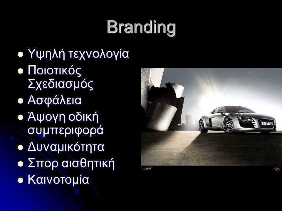 Branding  Υψηλή τεχνολογία  Ποιοτικός Σχεδιασμός  Ασφάλεια  Άψογη οδική συμπεριφορά  Δυναμικότητα  Σπορ αισθητική  Καινοτομία