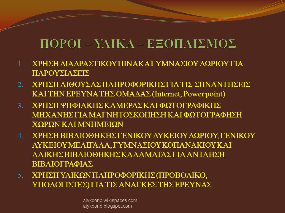 Αφού οριοθετήσαμε το νέο δήμο Οιχαλίας και οι τρεις ομάδες συντάξαμε έναν κατάλογο με τους πιο σημαντικούς χώρους του δήμου, ιστορικού, λαογραφικού και αρχαιολογικού ενδιαφέροντος.