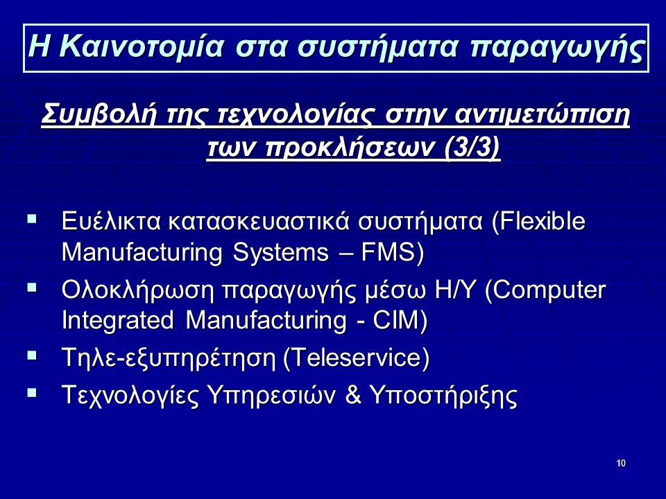 10 Η Καινοτομία στα συστήματα παραγωγής Συμβολή της τεχνολογίας στην αντιμετώπιση των προκλήσεων (3/3)  Ευέλικτα κατασκευαστικά συστήματα (Flexible Manufacturing Systems – FMS)  Ολοκλήρωση παραγωγής μέσω Η/Υ (Computer Integrated Manufacturing - CIM)  Τηλε-εξυπηρέτηση (Teleservice)  Τεχνολογίες Υπηρεσιών & Υποστήριξης
