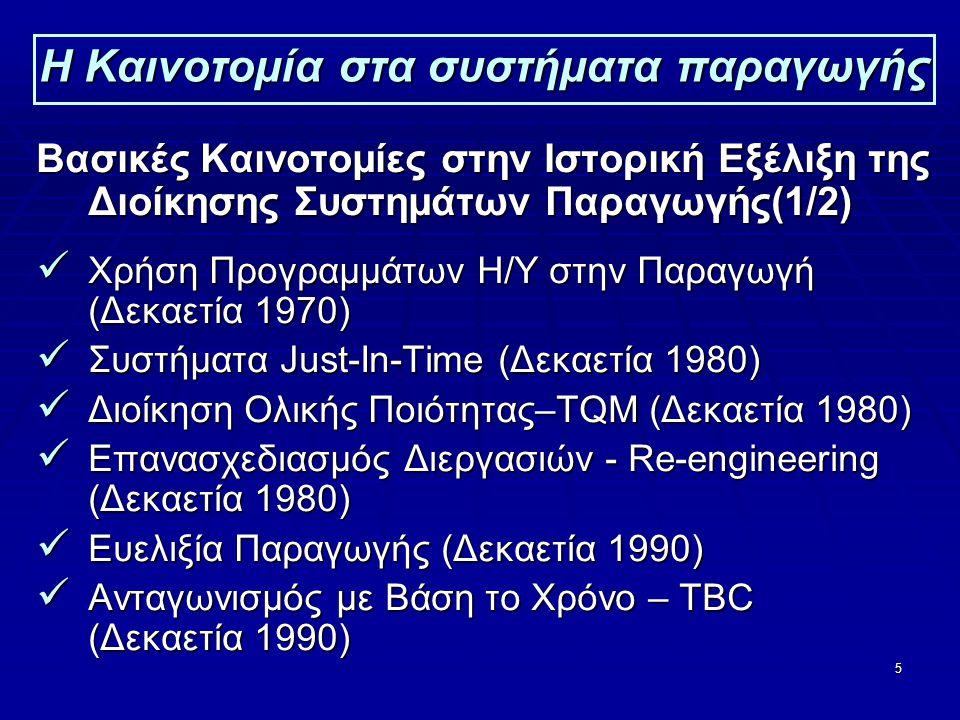 5 Η Καινοτομία στα συστήματα παραγωγής Βασικές Καινοτομίες στην Ιστορική Εξέλιξη της Διοίκησης Συστημάτων Παραγωγής(1/2)  Χρήση Προγραμμάτων Η/Υ στην Παραγωγή (Δεκαετία 1970)  Συστήματα Just-In-Time (Δεκαετία 1980)  Διοίκηση Ολικής Ποιότητας–TQM (Δεκαετία 1980)  Επανασχεδιασμός Διεργασιών - Re-engineering (Δεκαετία 1980)  Ευελιξία Παραγωγής (Δεκαετία 1990)  Ανταγωνισμός με Βάση το Χρόνο – TΒC (Δεκαετία 1990)
