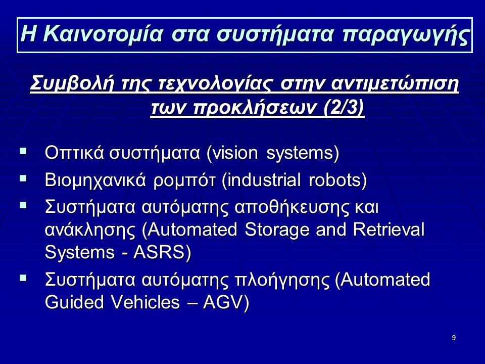 9 Η Καινοτομία στα συστήματα παραγωγής Συμβολή της τεχνολογίας στην αντιμετώπιση των προκλήσεων (2/3)  Οπτικά συστήματα (vision systems)  Βιομηχανικά ρομπότ (industrial robots)  Συστήματα αυτόματης αποθήκευσης και ανάκλησης (Automated Storage and Retrieval Systems - ASRS)  Συστήματα αυτόματης πλοήγησης (Automated Guided Vehicles – AGV)
